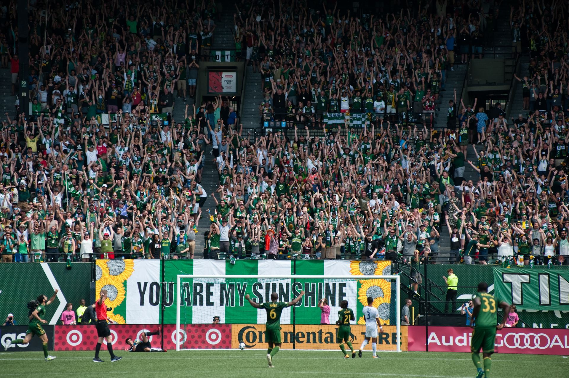 The Timbers Army celebrates a Valeri goal